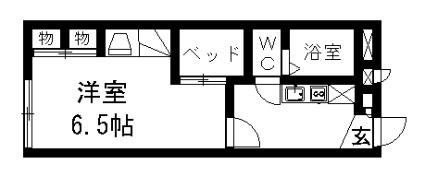 レオパレスシーマンニア[1K/22.35m2]の間取図