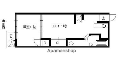 コーポ大島[1LDK/35m2]の間取図