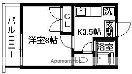 リバーサイド12[1K/24m2]の間取図