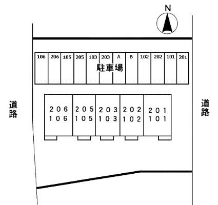 ジュネスアノンβ[2K/33.12m2]の配置図