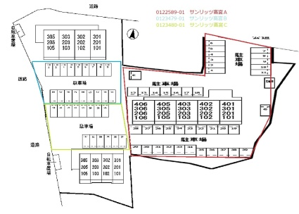サンリッツ高宮C[1K/30.98m2]の配置図