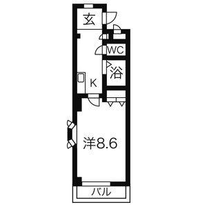 プラージュK[1K/27.26m2]の間取図