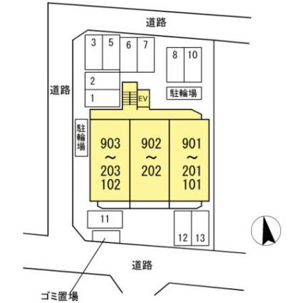 愛知県名古屋市東区黒門町[2SLDK/60.73m2]の配置図