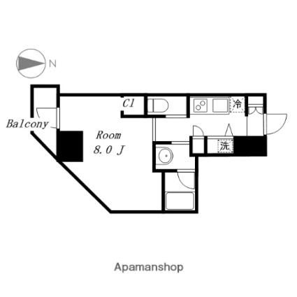 CHATEAU CERULEAN代官町 シャトーセルリアン代官町[1K/27.31m2]の間取図