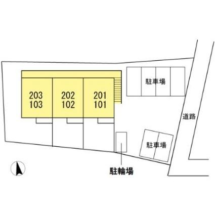 マリーンシェル新舞子[2DK/38.5m2]の配置図