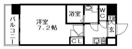 愛知県名古屋市西区名駅2丁目[1K/24.45m2]の間取図