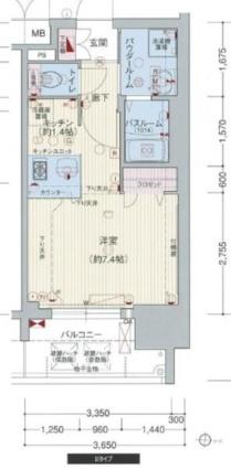 プレサンス桜通グレイス[1R/24.09m2]の間取図