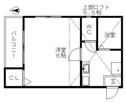 アビタシヨンM[1K/18.4m2]の間取図