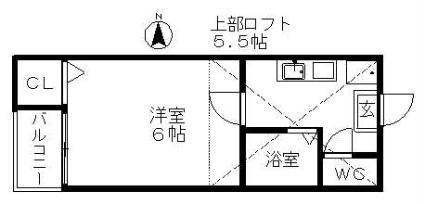 アビタシヨンM[1K/18.4m2]の配置図
