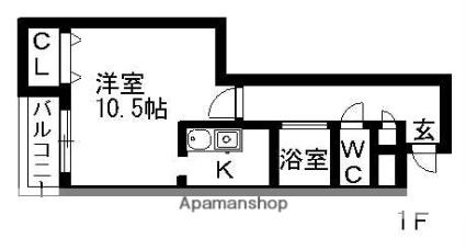 エミネンスフローラM[1K/35.21m2]の間取図