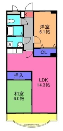 NH菰口[2LDK/60.5m2]の間取図