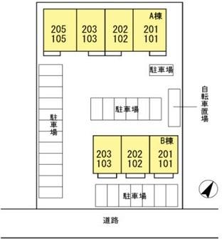LA TERRE Ⅰ棟[2LDK/60.71m2]の配置図