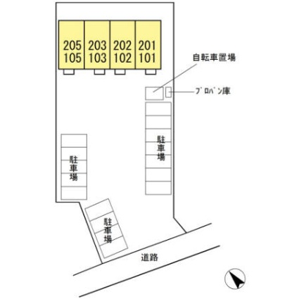 メゾン・メルヴェーユ[1LDK/36.53m2]の配置図