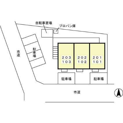 フローラルヴィレッジ小浜[1LDK/33.39m2]の配置図