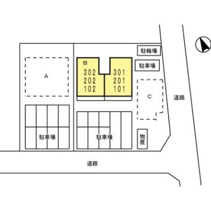 リヴェール B棟[2LDK/52.5m2]の配置図