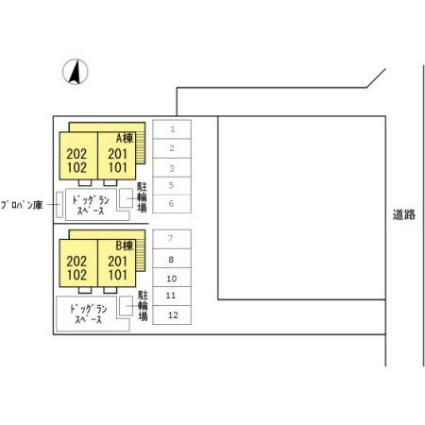 Dーroomやまは A[1LDK/35.3m2]の配置図