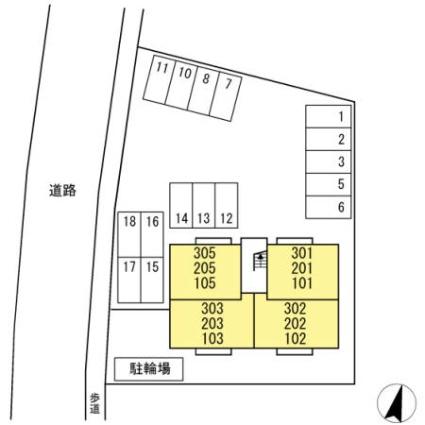 花館[1LDK/41.01m2]の配置図