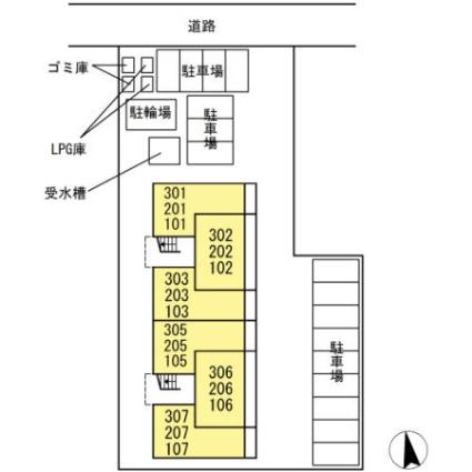 コンフィアンス[1LDK/45.01m2]の配置図