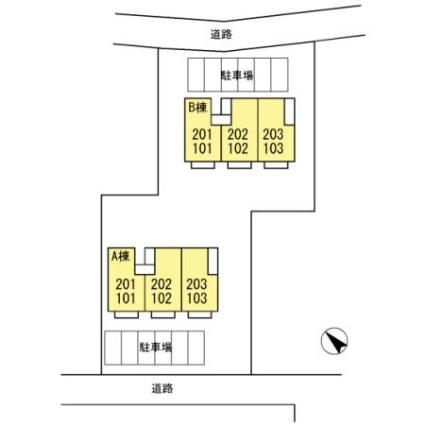 プレジール三宅 B[2DK/45.81m2]の配置図
