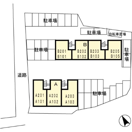 三重県津市高茶屋小森町[2DK/43.41m2]の配置図