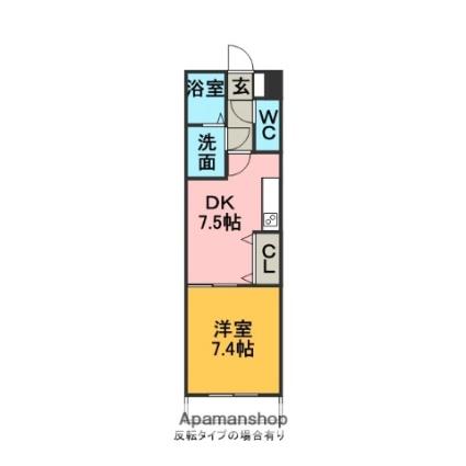 三重県いなべ市北勢町麻生田[1DK/36.75m2]の間取図
