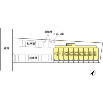サクラーレ朝日[1K/30.03m2]の配置図