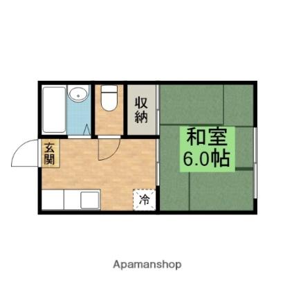 滋賀県蒲生郡日野町松尾4丁目[1K/22.68m2]の間取図
