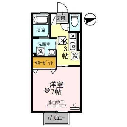 滋賀県大津市山上町[1K/26.8m2]の間取図