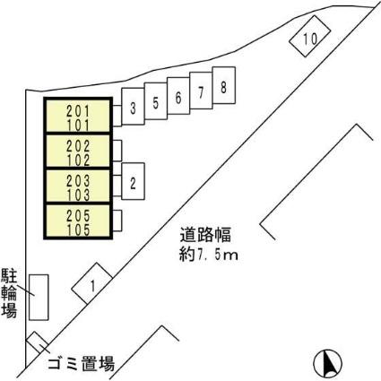 滋賀県大津市山上町[1K/26.8m2]の配置図