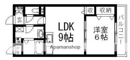 滋賀県栗東市下鈎[1LDK/40.95m2]の間取図