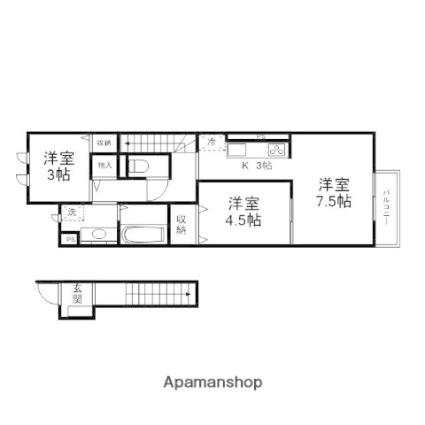 滋賀県大津市大江5丁目[2LDK/52.92m2]の間取図