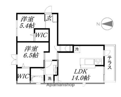 滋賀県大津市弥生町[2LDK/62.92m2]の間取図