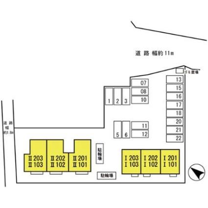 滋賀県彦根市平田町[1DK/39.23m2]の配置図