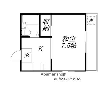 滋賀県大津市観音寺[1K/22m2]の間取図