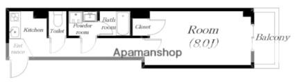 滋賀県大津市京町3丁目[1K/27.82m2]の間取図