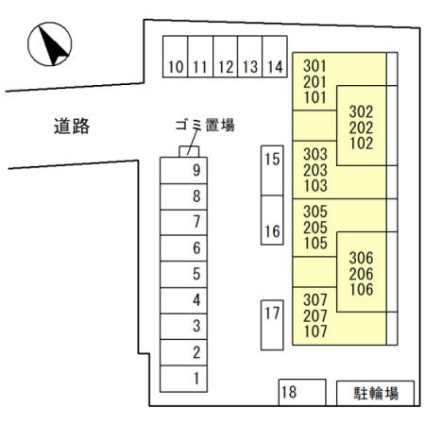 滋賀県栗東市小柿5丁目[1LDK/42.63m2]の配置図
