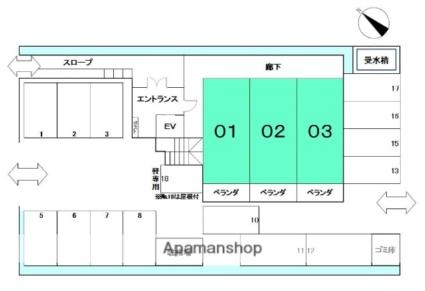 ラリカソール・ヒヨ[2LDK/54.4m2]の配置図