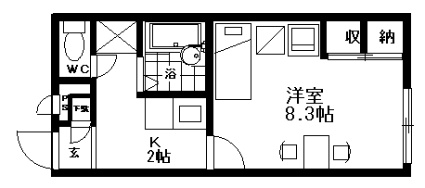 レオパレスファミリア[1K/23.18m2]の間取図