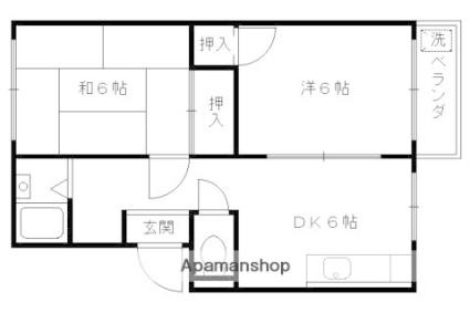 京都府向日市上植野町[2DK/38m2]の間取図