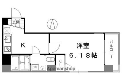 ブリエ五条大宮[1K/23.03m2]の間取図