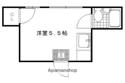 ハイツ村岡[1K/17m2]の間取図