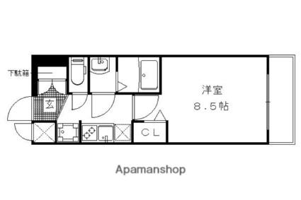 ベラジオ京都一乗寺Ⅱ[1K/25.81m2]の間取図