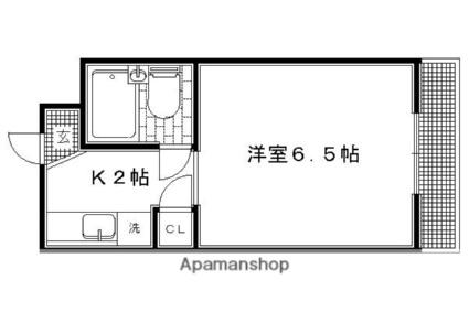 ニケンカン[1K/18.6m2]の間取図