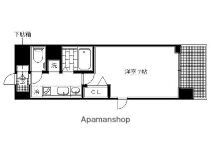プレミアムステージ京大前[1K/23.4m2]の間取図