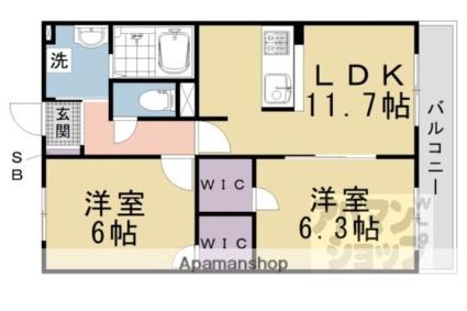 ニックレジデンス京都[2LDK/55.66m2]の間取図