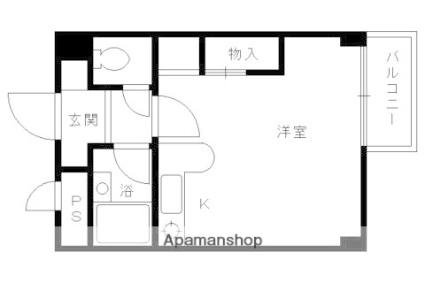 ランブラス西院[1R/22.88m2]の間取図