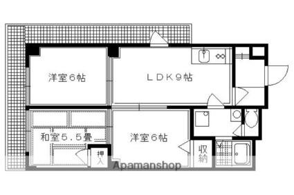 京都府京都市左京区岩倉幡枝町[3LDK/57m2]の間取図