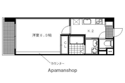 京都府京都市左京区田中馬場町[1K/26.51m2]の間取図