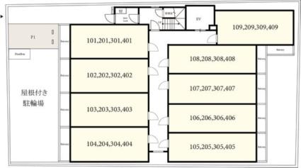 アークリード洛北[1K/22.55m2]の配置図