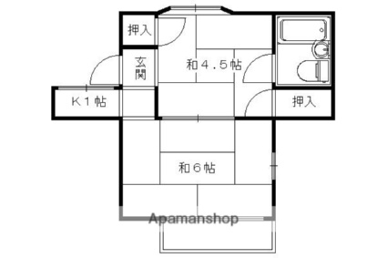 京都府京都市右京区御室岡ノ裾町[2K/29m2]の間取図